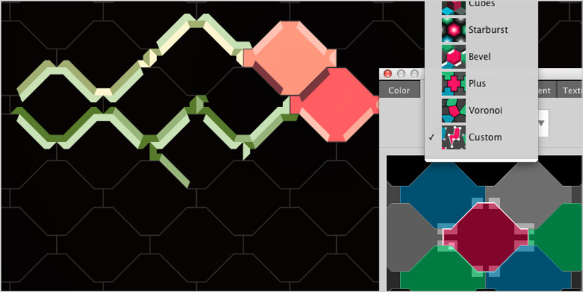 Hexels Pro has custom shapes and grids. Yum.